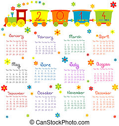 2014, calendário, com, trem, para, crianças