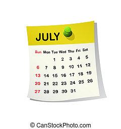 2014, calendário, july.