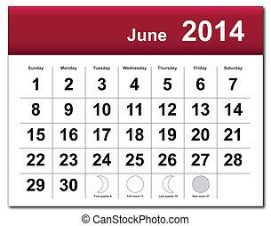 2014, calendário, junho