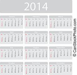 2014, calendário, minimalistic