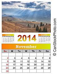 2014, Calendário, novembro