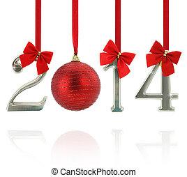 2014, calendário, ornamentos, pendurar, vermelho, fitas