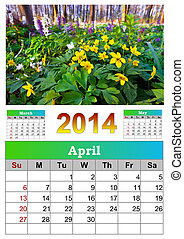 2014 Calendar. April.