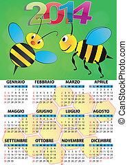 illustration of 2014 calendar for children in italian
