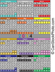 2014 CALENDAR BIG color background specific for each month