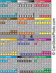 2014 CALENDAR BIG color gradients background specific for each month