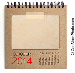 2014 Calendar brown notebook with old blank photo