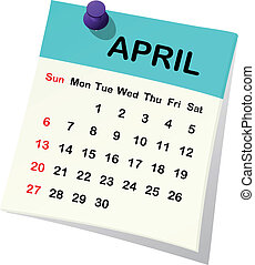 2014 calendar for April. - 2014 paper sheet calendar for...