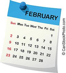 2014 calendar for February. - 2014 paper sheet calendar for...