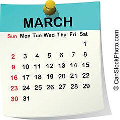 2014 paper sheet calendar for March.