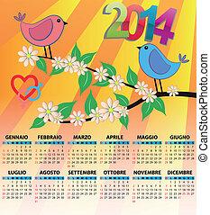 2014 calendar italy bird