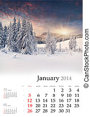 2014 Calendar. January. Beautiful winter landscape in the mountains.
