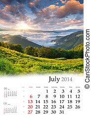 2014 Calendar. July.