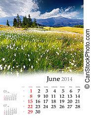 2014, calendar., june., překrásný, léto, krajina, do, ta,...