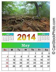 2014, calendar., may.