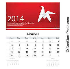 2014 Calendar Monthly Template For January Origami Paper Horse Design Vector
