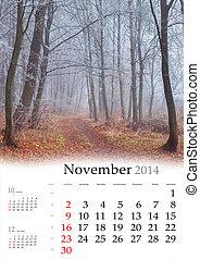 2014, calendar., november.