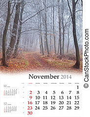 2014 Calendar. November. Beautiful autumn landscape in the ...