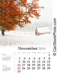 2014 Calendar. November. Beautiful autumn landscape in the mountains