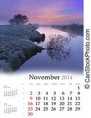 2014 Calendar. November. Beautiful autumn landscape on the river.