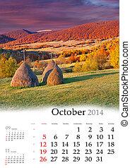 2014 Calendar. October.