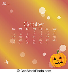 2014 calendar October, vector