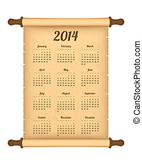 2014 calendar on parchment roll