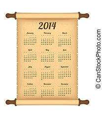 2014 calendar on parchment roll