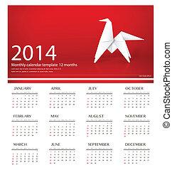 2014 calendar, origami paper horse design. Vector illustration.