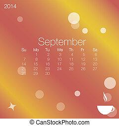 2014 calendar September, vector