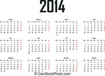 2014 calendar template - week starts monday