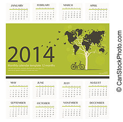2014 calendar, tree shaped world map design. Vector...