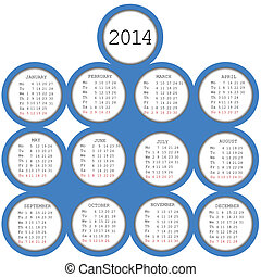 2014 calendar with blue circles