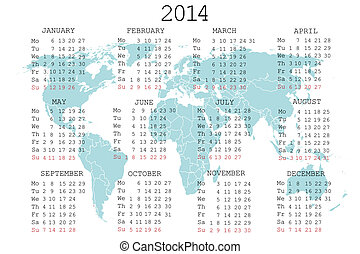 2014 calendar with blue map for your notebook or agenda