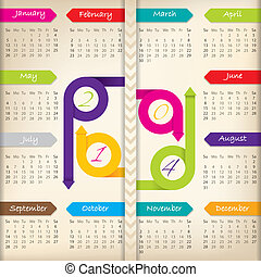 2014 calendar with color arrow ribbons