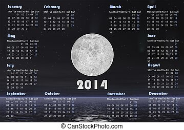 2014 calendar with comets and full moon -3D render