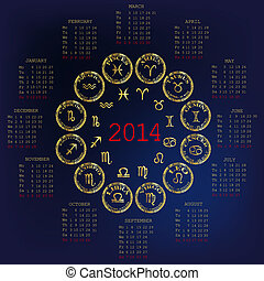 2014 Calendar with horoscope