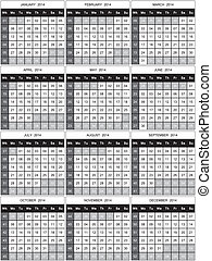 2014 Calendar with numbered weeks