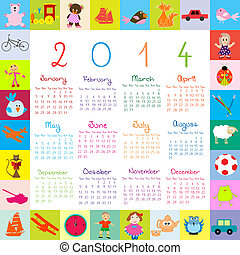 2014 Calendar with toys for kids