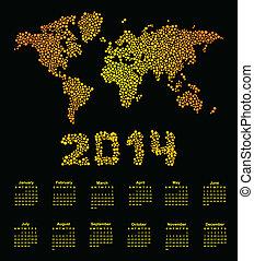 2014 calendar world map