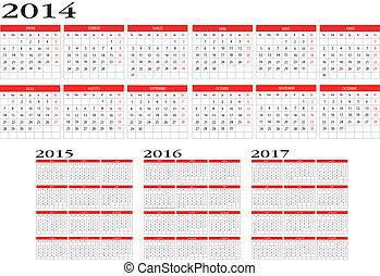 2014, calendario, 2017