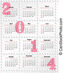 2014, calendario, agujeros