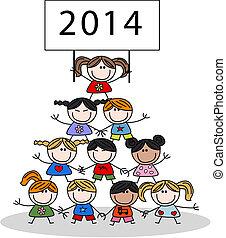 2014, calendario, bambini, felice