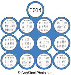 2014, calendario, con, blu, cerchi
