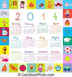 2014, calendario, con, giocattoli, per, bambini