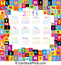 2014, calendario, con, lettera, per, scuole