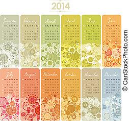 2014, calendario, conjunto