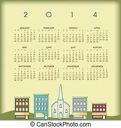 2014, calendario, creativo, città, piccolo