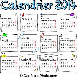 2014, calendario, francese
