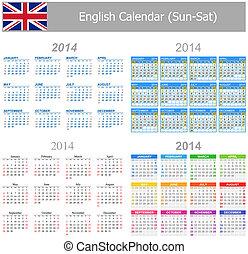 2014, calendario, inglese, sun-sat, miscelare